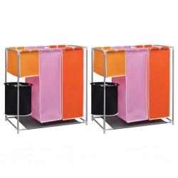 stradeXL 3-komorowe kosze na pranie, 2 szt., z pojemnikiem do prania