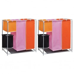 stradeXL 3-Section Laundry Sorter Hampers 2 pcs with a Washing Bin