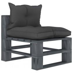 stradeXL Ogrodowe siedzisko z palet z czarnymi poduszkami, drewniane