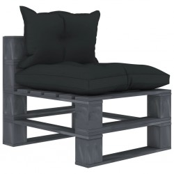 stradeXL Ogrodowe siedzisko z palet z antracytowymi poduszkami, drewno
