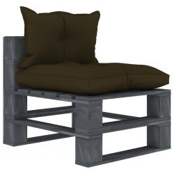stradeXL Ogrodowe siedzisko z palet, z poduszkami taupe, drewniane