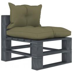 stradeXL Ogrodowe siedzisko z palet, z beżowymi poduszkami, drewniane