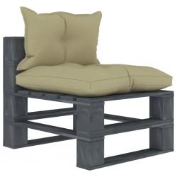 stradeXL Ogrodowe siedzisko z palet, z kremowymi poduszkami, drewniane