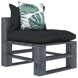 stradeXL Ogrodowe siedzisko z palet z poduszkami w 2 kolorach, drewniane