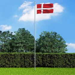 stradeXL Denmark Flag and Pole Aluminium 6,2 m