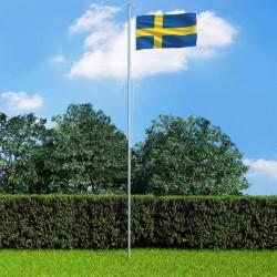 stradeXL Flaga Szwecji z aluminiowym masztem, 6,2 m
