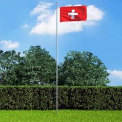 stradeXL Switzerland Flag and Pole Aluminium 6,2 m