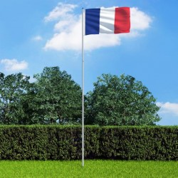 stradeXL Flaga Francji z aluminiowym masztem, 6 m