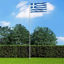 stradeXL Flaga Grecji z aluminiowym masztem, 6 m