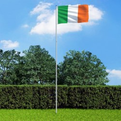 stradeXL Flaga Irlandii z aluminiowym masztem, 6 m