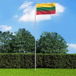 stradeXL Flaga Litwy z aluminiowym masztem, 6 m