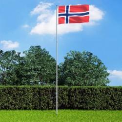 stradeXL Flaga Norwegii z aluminiowym masztem, 6 m