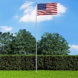 stradeXL Flaga USA z aluminiowym masztem, 6 m