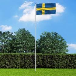 stradeXL Sweden Flag and Pole Aluminium 6 m