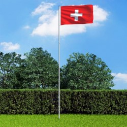 stradeXL Switzerland Flag and Pole Aluminium 6 m