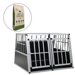 stradeXL Dog Cage with Dry Dog Food 94x88x69 cm Silver