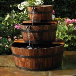 Ubbink Garden Waterfall Foutain Wooden Barrel Set 3 Barrels