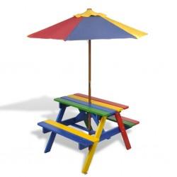 stradeXL Stół dla dzieci z ławkami i parasolem, wielokolorowy, drewniany