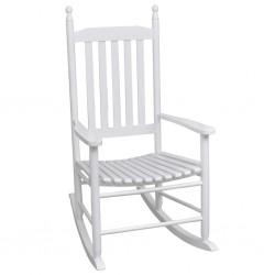 stradeXL Fotel bujany z wygiętym siedziskiem, biały, drewniany