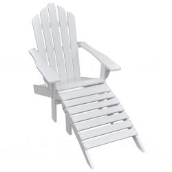 stradeXL Krzesło ogrodowe z podnóżkiem, drewniane, białe