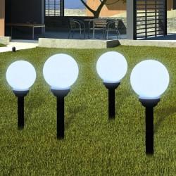 stradeXL Zewnętrzna lampa solarna LED, kula, 15 cm, 4 szt., z bolcem