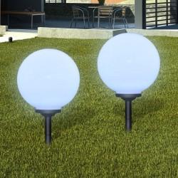 stradeXL Zewnętrzne lampy solarne LED w kształcie kuli, 30 cm, 2 szt.