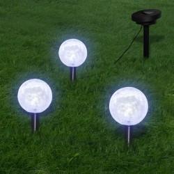 stradeXL Lampy ogrodowe ze szpikulcami i panelem solarnym, 3 LED