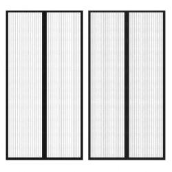 stradeXL Moskitiery na drzwi, 210 x 100 cm, 2 szt., z magnesem, czarne