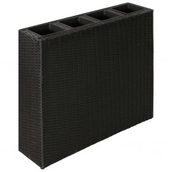 stradeXL Garden Raised Bed with 4 Pots Poly Rattan Black