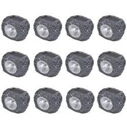 Outdoor Solar Powered LED Spotlight Stone Shape 12 pcs