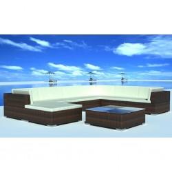 stradeXL 8-cz. zestaw wypoczynkowy do ogrodu, poduszki, rattan PE, brąz