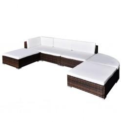 stradeXL 6-cz. zestaw wypoczynkowy do ogrodu, poduszki, rattan PE, brąz