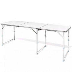 Foldable Camping Table Height Adjustable Aluminium 180 x 60 cm
