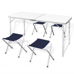 Składany stół kempingowy 4 krzesła i regulowana wysokość 120 x 60 cm