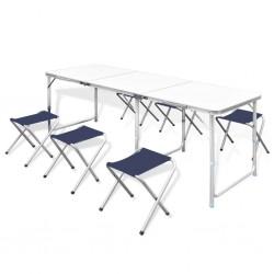 stradeXL Zestaw turystyczny: stół i 6 stołków, regulacja wysokości