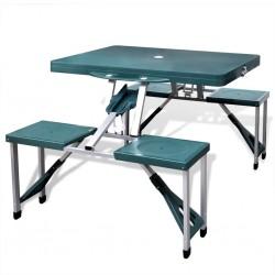 Foldable Camping Table Set with 4 Stools Aluminium Extra Light Green