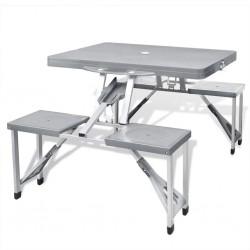 Zestaw kempingowy stół+krzesła aluminium kolor szary