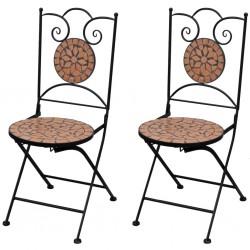 stradeXL Składane krzesła bistro, 2 szt., ceramiczne, terakota
