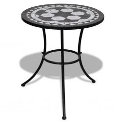 stradeXL Stolik bistro, czarno-biały, 60 cm, mozaikowy
