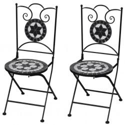 stradeXL Składane krzesła bistro, 2 szt., ceramiczne, czarno-białe