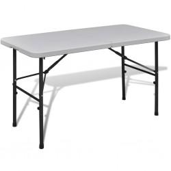 Stół kempingowy biały (122 cm) wykonany z HDPE