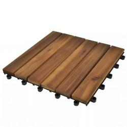 stradeXL Płytki tarasowe, 30 x 30 cm, drewno akacjowe, pionowy wzór