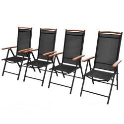 stradeXL Składane krzesła ogrodowe, 4 szt., aluminium/textilene, czarne