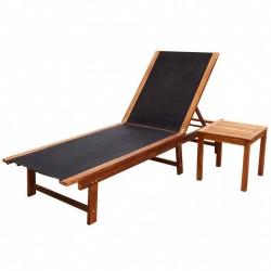 stradeXL Leżak ze stolikiem, lite drewno akacjowe i tkanina textilene