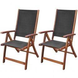 stradeXL Składane krzesła ogrodowe, 2 szt., drewno akacjowe i textilene