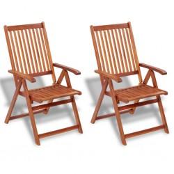 stradeXL Składane krzesła ogrodowe, 2 szt., lita akacja, brązowe