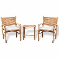 stradeXL 3-cz. zestaw mebli bistro z poduszkami, bambus