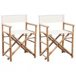 stradeXL Składane krzesło reżyserskie, bambus i płótno, 2 sztuki