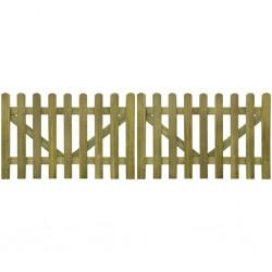 stradeXL Brama do płotu, 2 elementy, impregnowane drewno, 300x100 cm