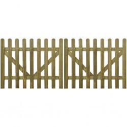 stradeXL Brama do płotu, 2 elementy, impregnowane drewno, 300x120 cm